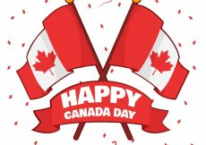 Free vector Great background with ribbon and flags of canada #8714