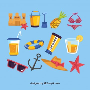 Free vector Great collection of colored summer objects #5431