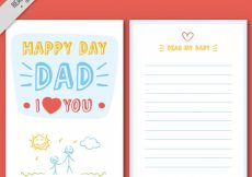 Free vector Great father's day greeting card with drawings #11441