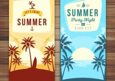 Free vector Great summer banners with palm tree silhouettes #3999