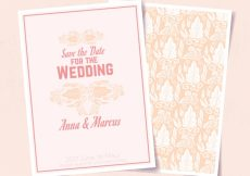 Free vector Great wedding invitation with ornamental decoration #9496