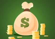 Free vector Green background of coin bag #8021