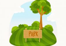 Free vector Green park with a nice tree #11259