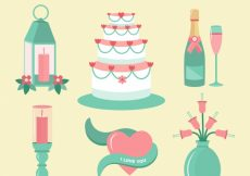 Free vector Green wedding elements collection #11829