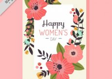Free vector Greeting card with beautiful flowers for women's day #11399
