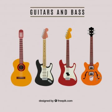 Free vector Guitar and bass collect #5389