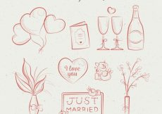 Free vector Hand-drawn assortment of wedding items #9227