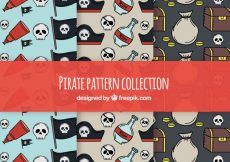 Free vector Hand-drawn pirate pattern set #7276