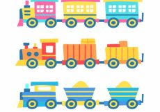 Free vector Hand-drawn set of colored toy trains #4623