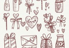 Free vector Hand drawn wedding elements collection #11863