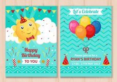 Free vector Happy birthday cards with balloons and sun #6487