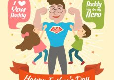 Free vector Happy super dad background with his kids #7134