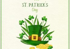 Free vector Hat background with clovers and coins of saint patrick's day #11313