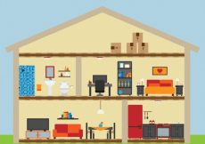 Free vector House with nice rooms in flat design #11059