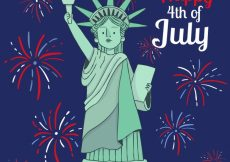 Free vector Independence day background with fireworks and statue of liberty #7100