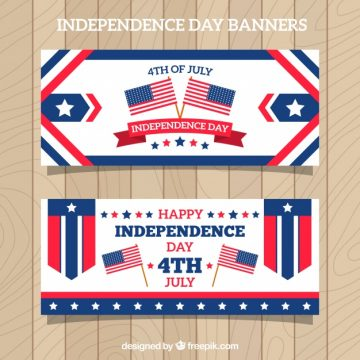 Free vector Independence day banners in flat design #8768