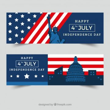 Free vector Independence day banners with monuments in flat design #8758