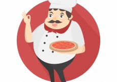 Free vector Italian cook with a pizza #9544