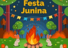Free vector Junina festival background of bonfire in the forest #10031