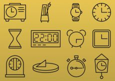 Free vector Line Clock Icons #5014
