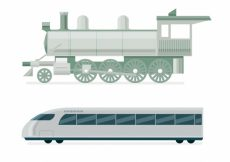 Free vector Locomotive and modern train in flat design #4593