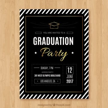 Free vector Luxury graduation party leaflet with white stripes #12377