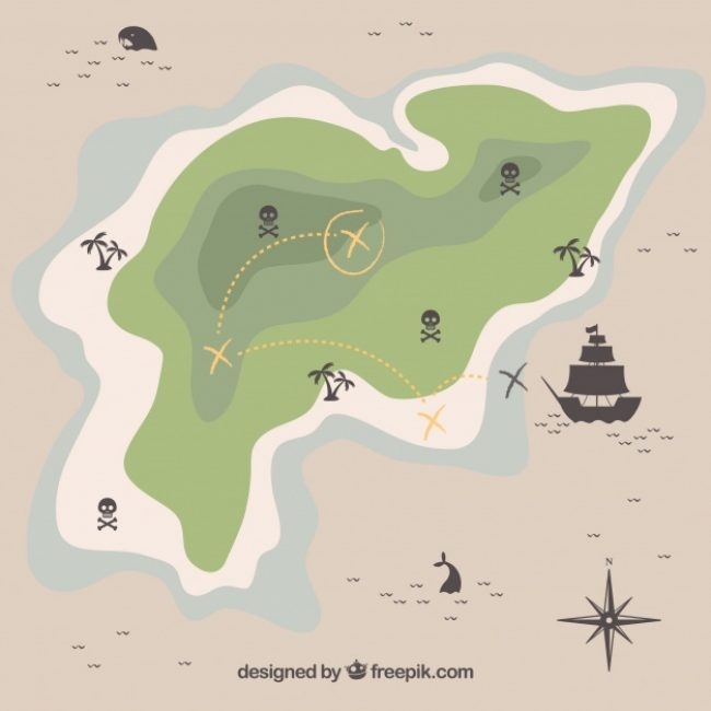 Free vector Map of island with pirate treasure #8664