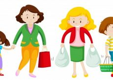 Free vector Mother and kid go shopping illustration #12351