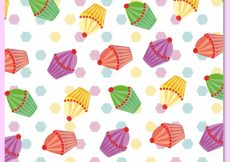 Free vector Multicolor cupcakes pattern background #10251