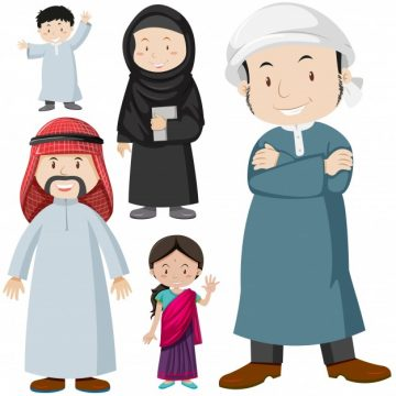 Free vector Muslim people in traditional costume illustration #12299