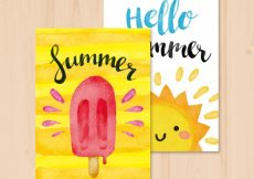Free vector Nice summer cards with ice cream and watercolor sun #4671