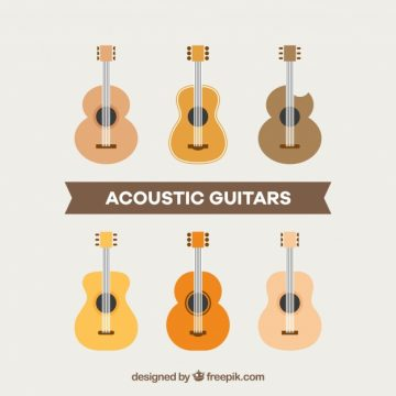 Free vector Pack of acoustic guitars in flat design #9969