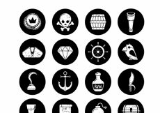Free vector Pack of black circles with retro pirate elements #6491