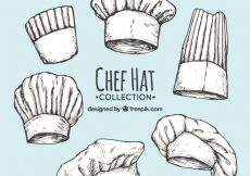 Free vector Pack of chef's hand-drawn hats #6376