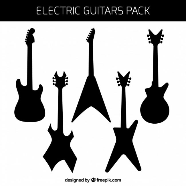 Free vector Pack of electric guitars silhouettes #8914