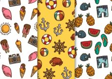 Free vector Pack of fantastic hand-drawn summer patterns #5315