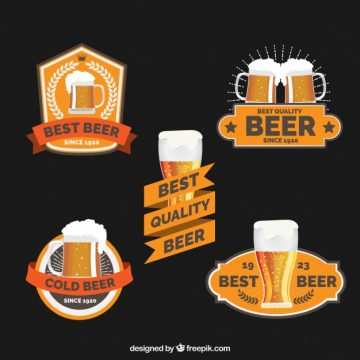 Free vector Pack of five beer stickers #8782