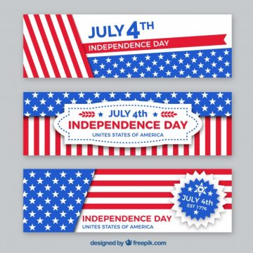 Free vector Pack of flat independence day banners #10519