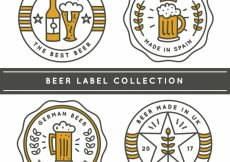 Free vector Pack of four beer stickers in linear style #9468