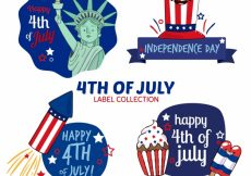 Free vector Pack of four hand-drawn independence day labels #7094