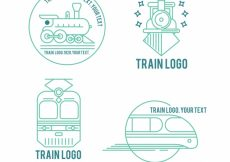 Free vector Pack of four linear train logos #4629