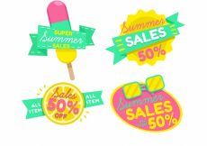 Free vector Pack of four summer sale stickers #10191