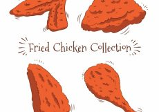 Free vector Pack of hand-drawn fried chicken  #7112