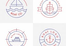 Free vector Pack of linear logos with decorative boats #5201