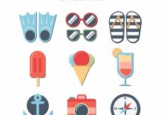 Free vector Pack of nine flat summer objects #5353