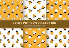 Free vector Pack of pineapple and watermelon patterns #8600