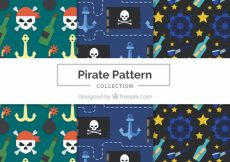 Free vector Pack of pirate patterns in flat design #12237