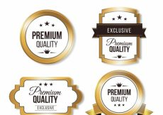 Free vector Pack of premium vintage golden stickers #12137
