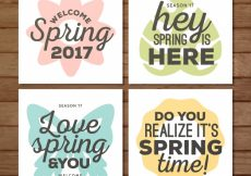 Free vector Pack of spring cards with messages #10938