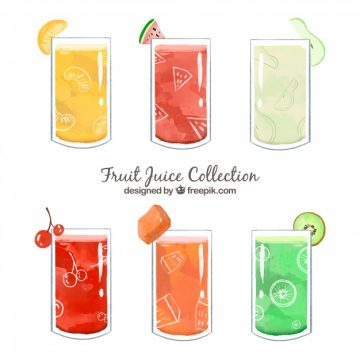 Free vector Pack of tasty fruit juices painted with watercolor #7128